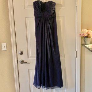Navy blue strapless bridesmaid dress